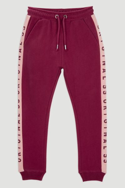 Burgundy Side Slogan Joggers