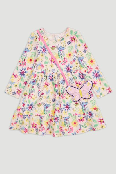 Flower Print Dress & Butterfly Bag