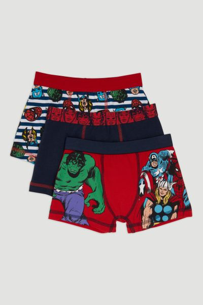 3 Pack Marvel Print Trunks
