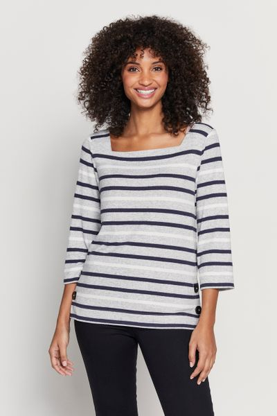 Soft Navy Stripe Top