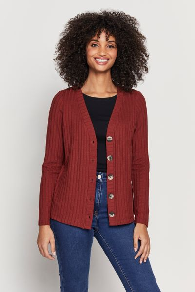 Rust Ribbed Button Thru Cardigan