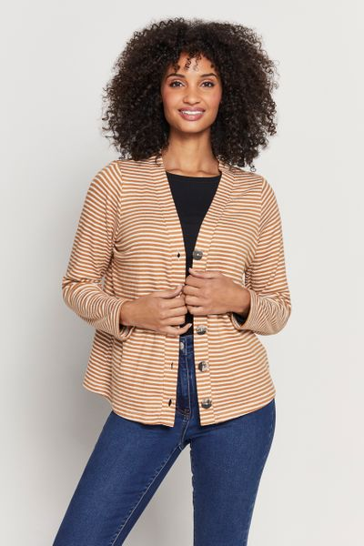 Stripe Button Thru Cardigan