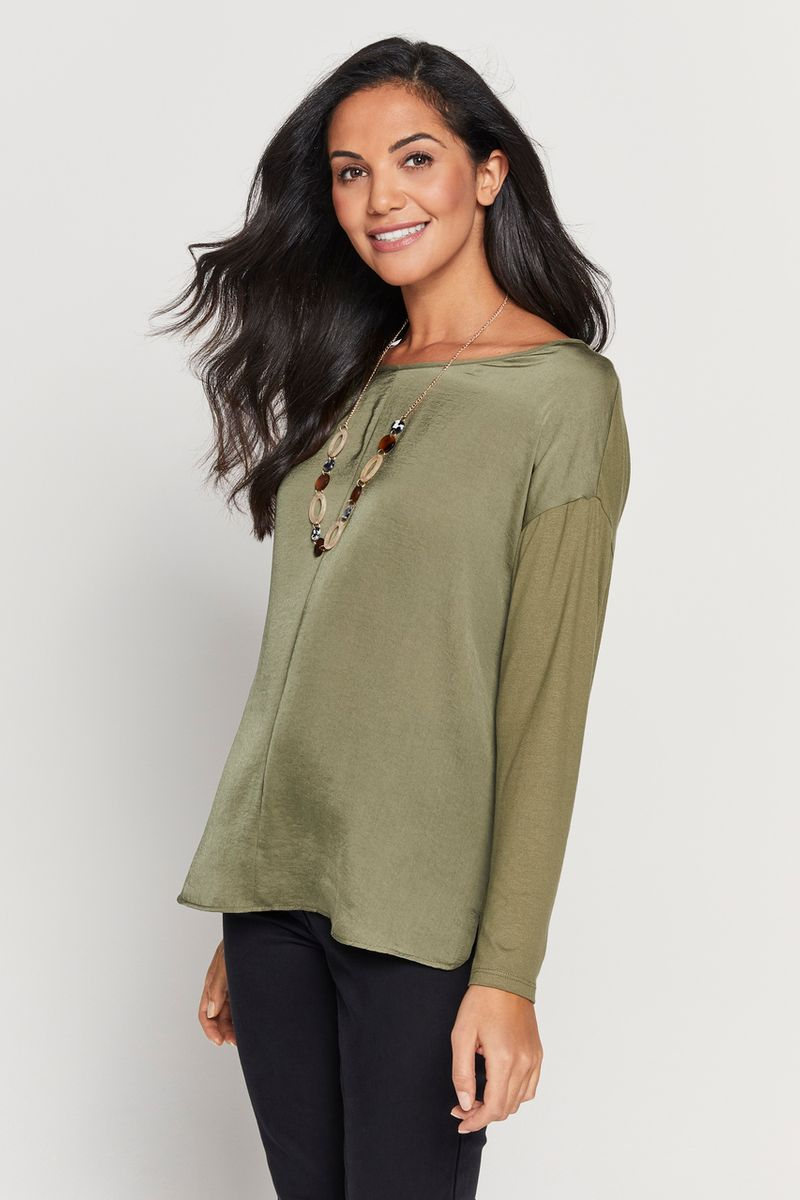 Khaki Top With Necklace