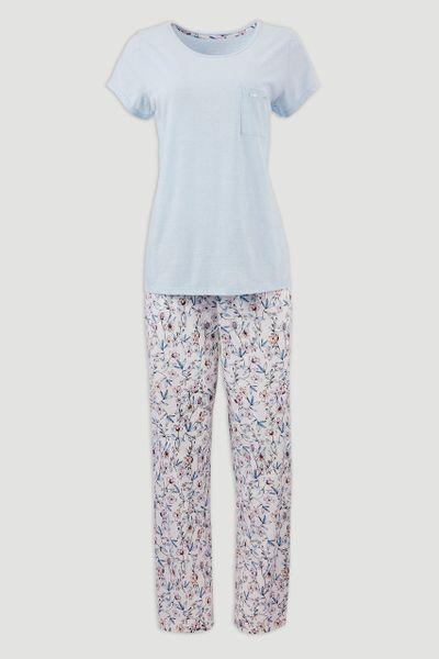 Blue Floral Print Pyjama