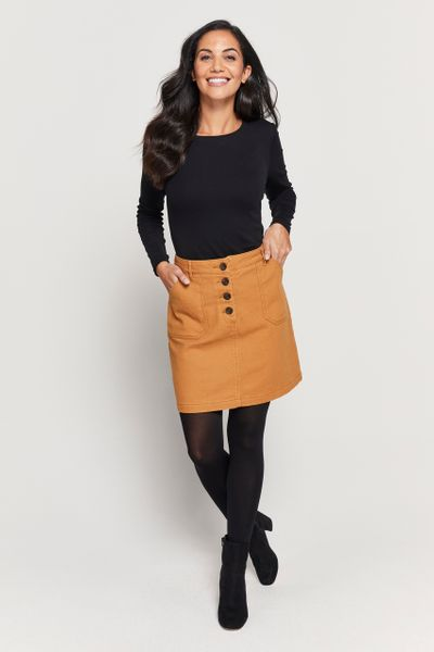 Mustard Twill Button Skirt