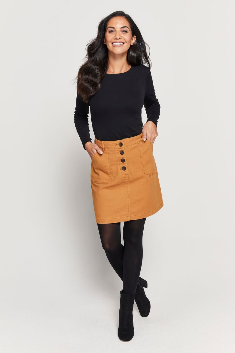 Mustard Twill Button Skirt