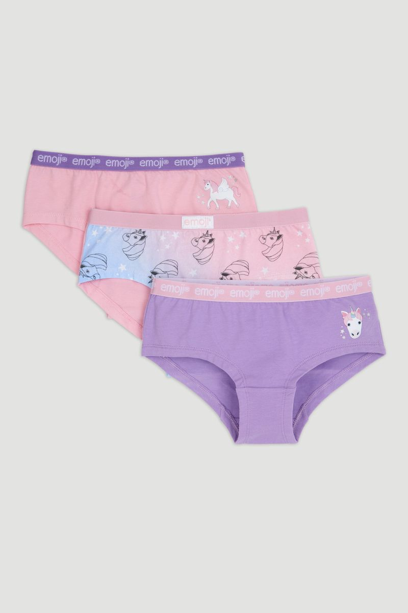 3 Pack Unicorn Emoji Shorts