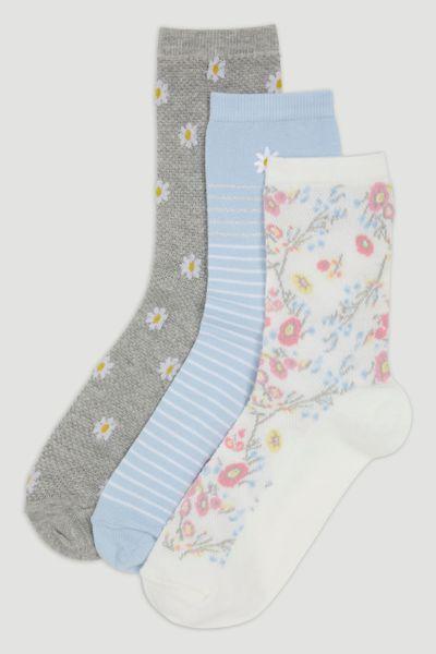 3 Pack Blue Floral Socks
