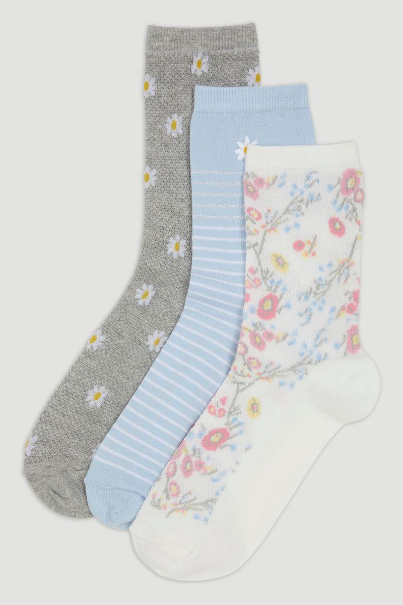 3 Pack Floral Socks