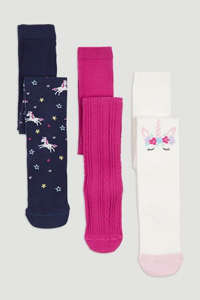 3 Pack Unicorn Tights