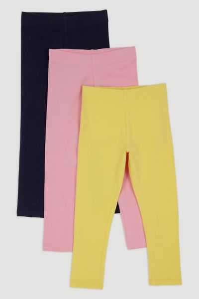 3 Pack Navy Pink Yellow Leggings