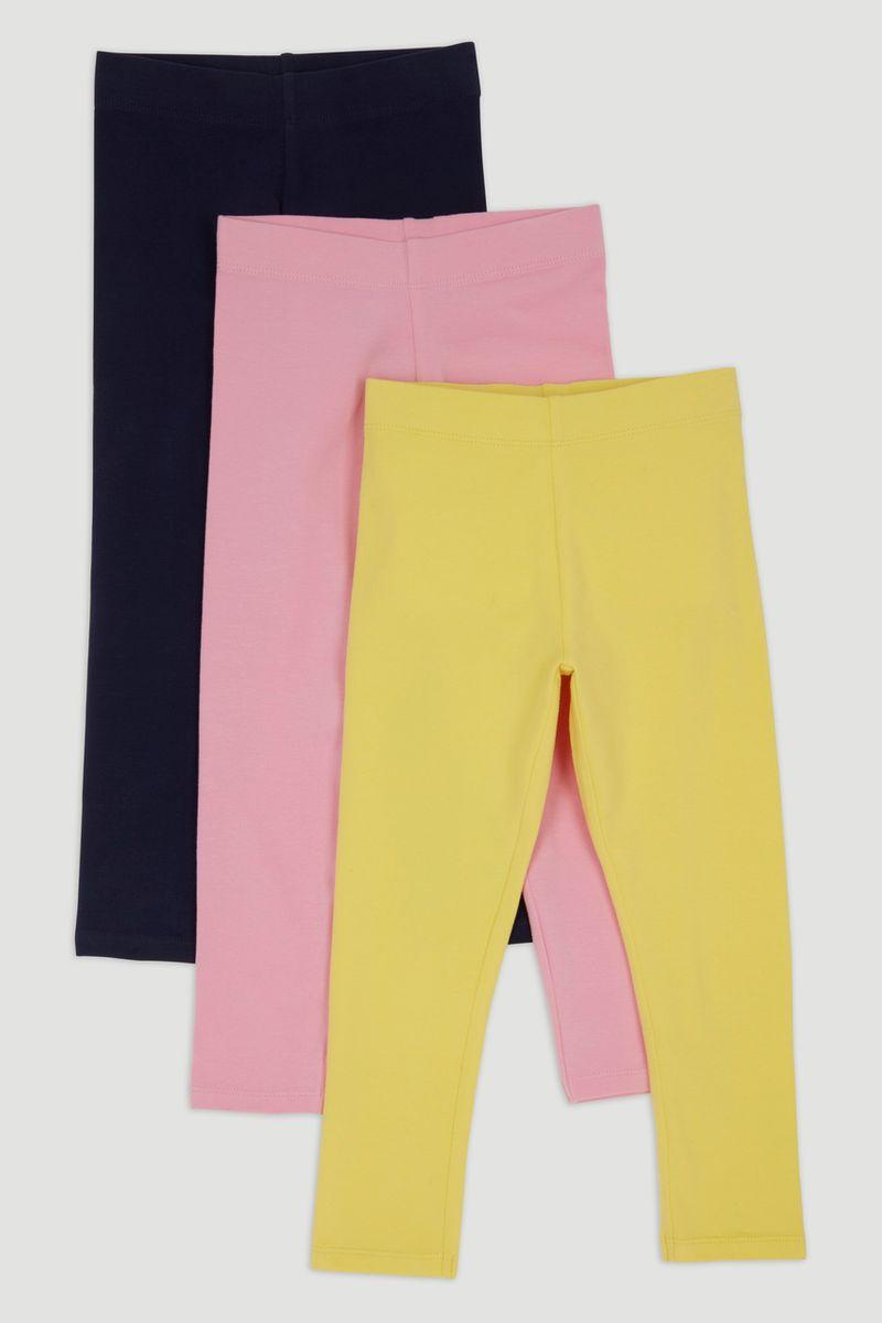 3 Pack Navy Pink Yellow Leggings