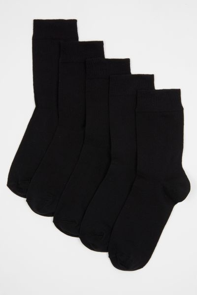 5 Pack Black Flexitop Socks