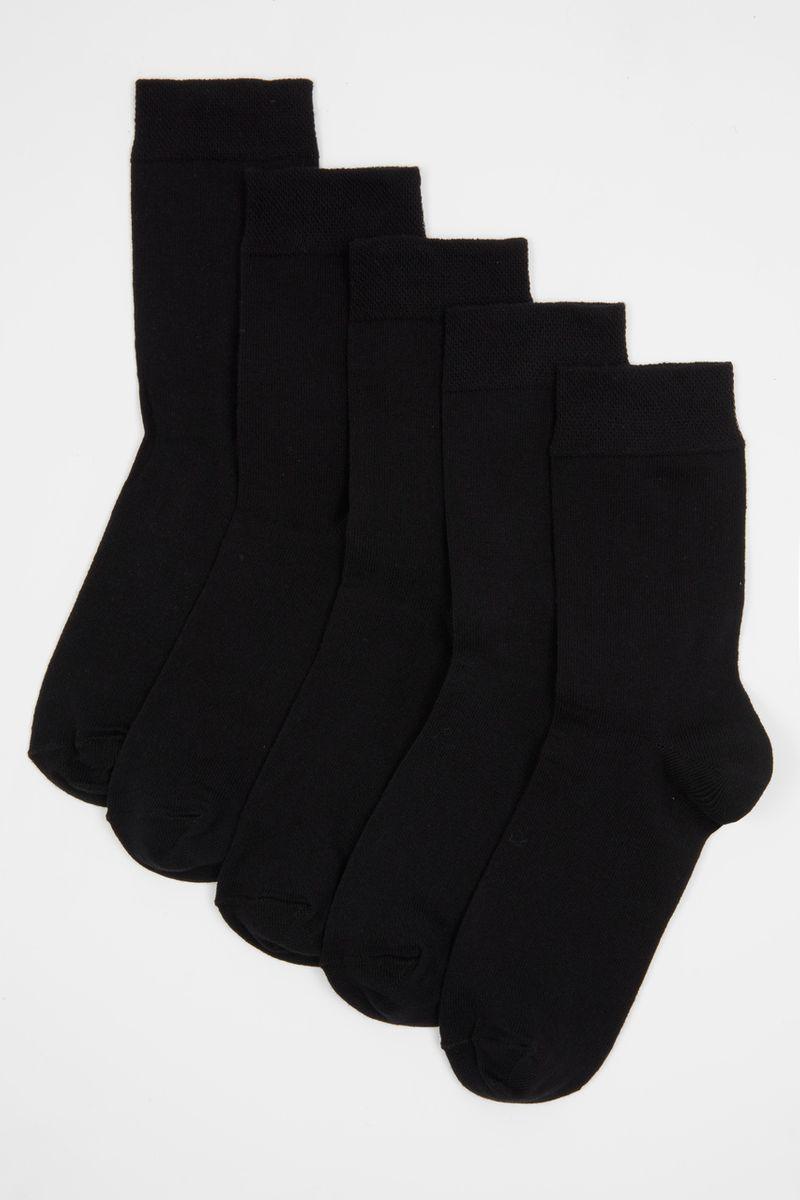 5 Pack Black Flexitop Socks