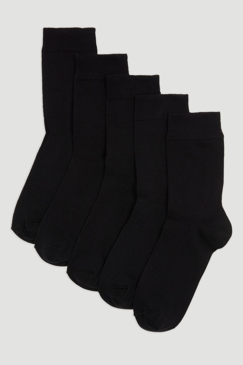 5 Pack Flexitop Black Socks