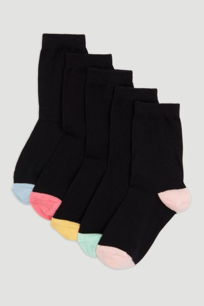 5 Pack Pastel Heel & Toe Socks