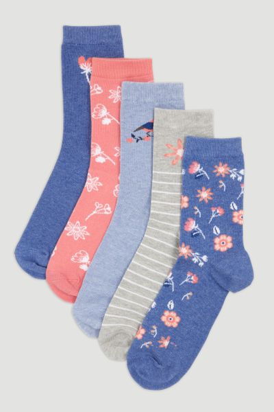 5 Pack Coral Flower Socks