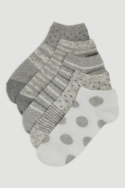 5 Pack Spot & Stripe Trainer Socks