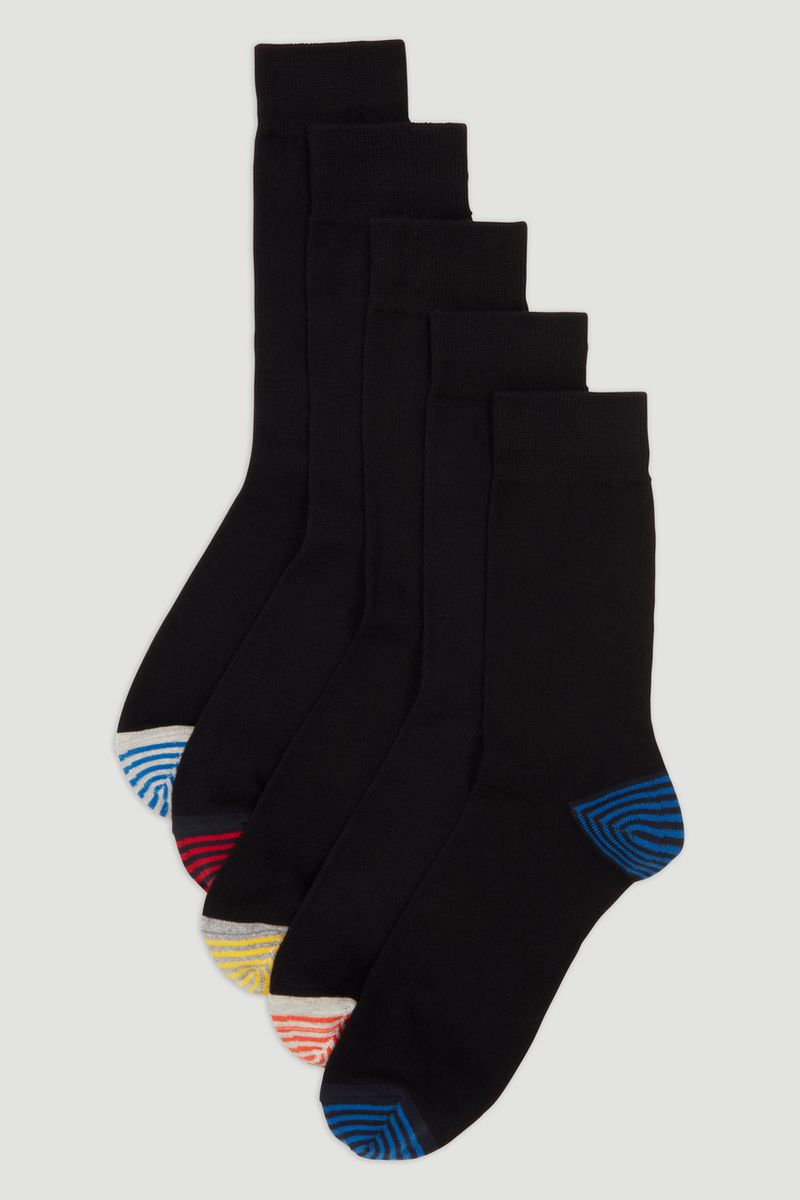 5 Pack Stripe Heel & Toe Sock