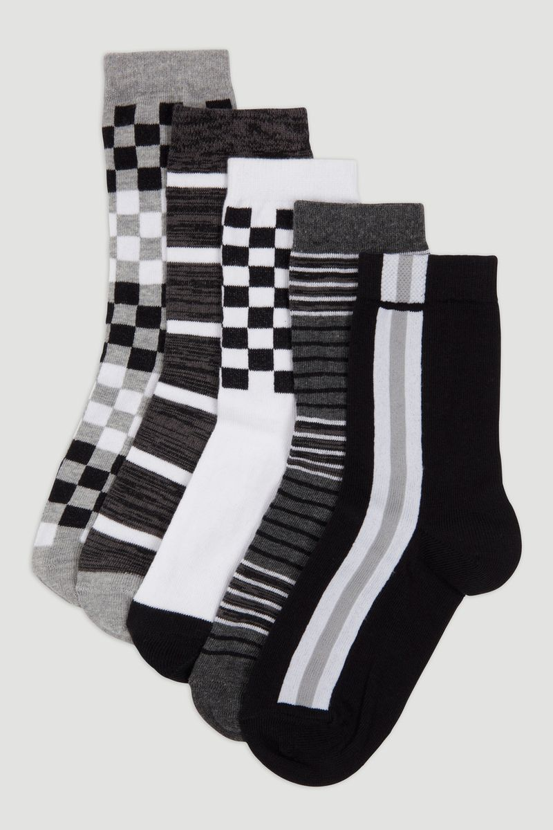 5 Pack Mono Check Socks