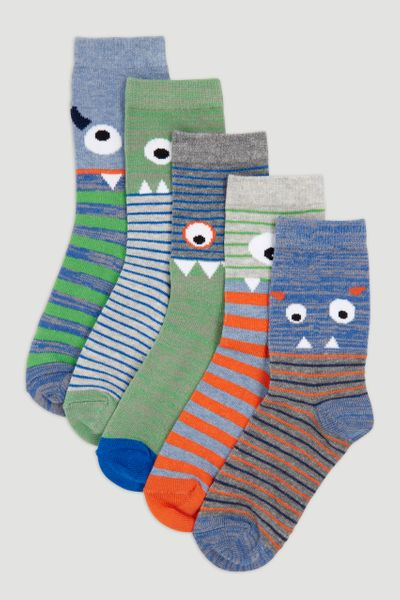 5 Pack Silly Monster Socks