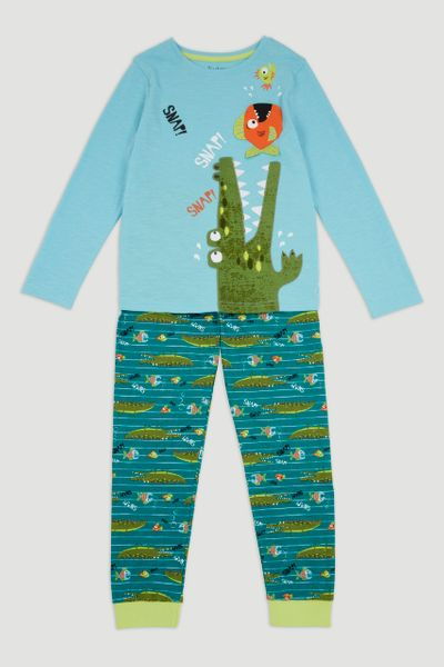 Blue Crocodile Print Pyjamas