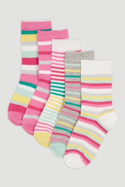 5 Pack Pink Stripe Socks