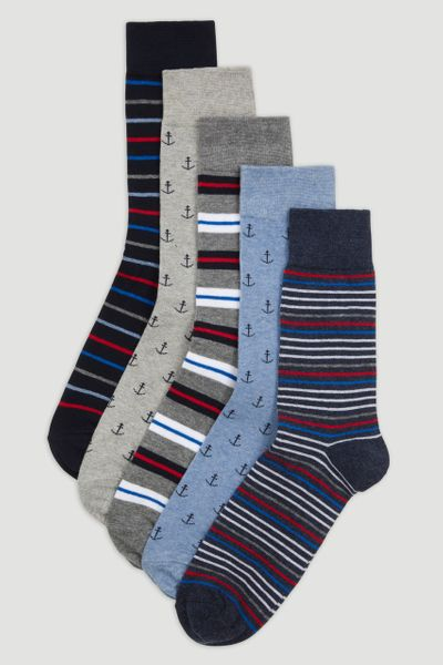 5 Pack Nautical Socks