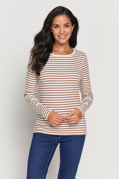 Long Sleeve Rust Stripe Top