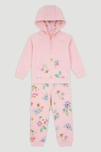 Pink Floral Hoodie & Jogger Set