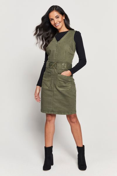 Khaki Pinafore Dress