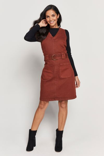 Rust Pinafore Dress
