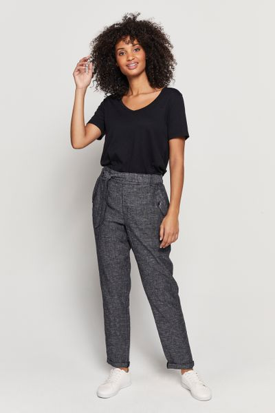 Black Linen Tapered Trousers