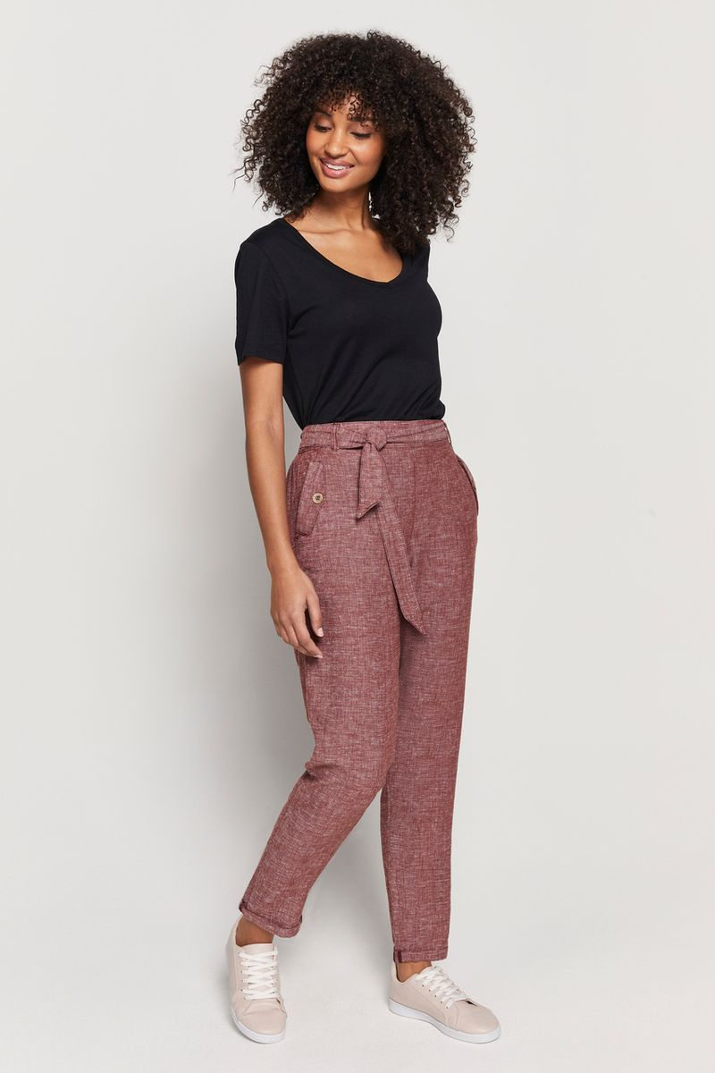 Linen Rust Tapered Trousers