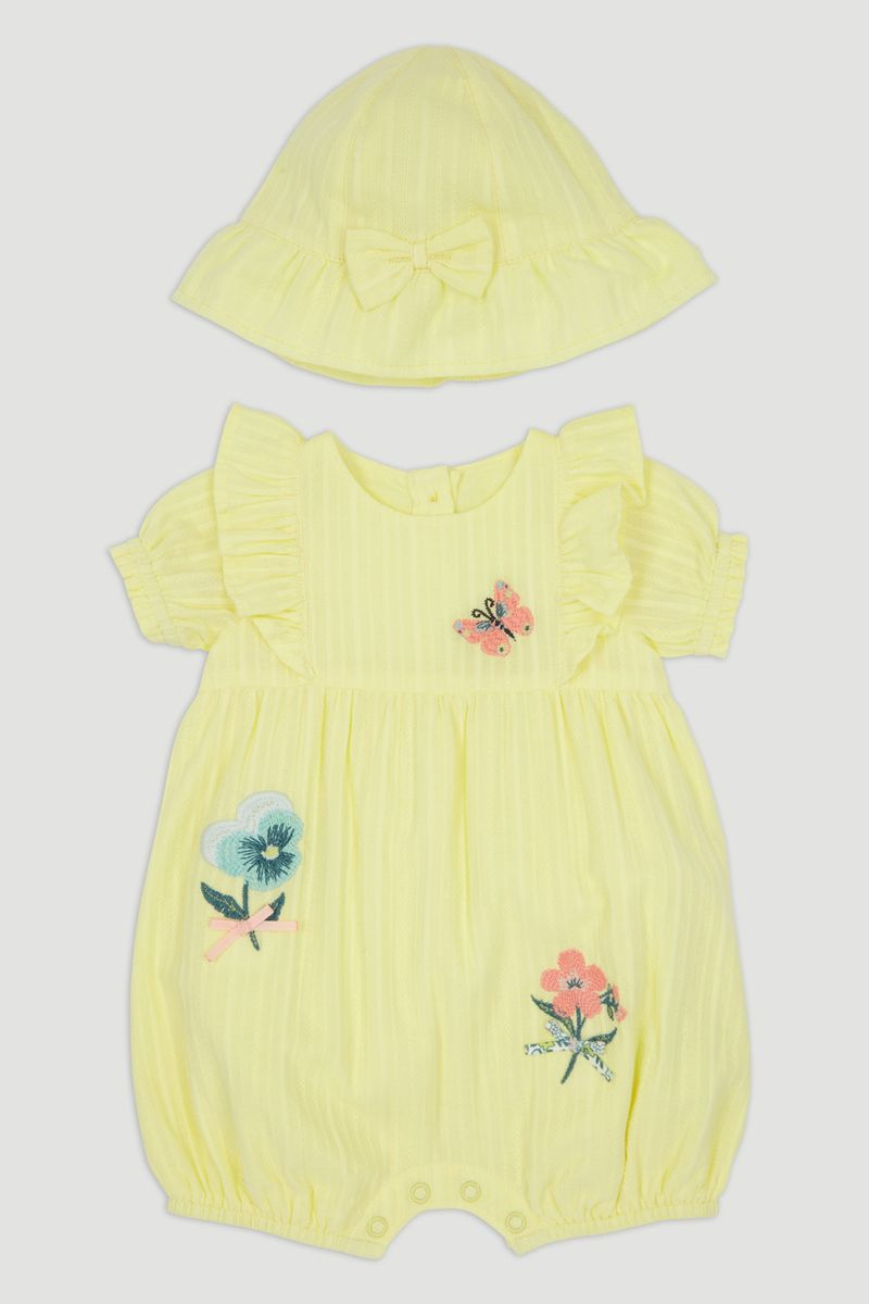 Yellow Floral Embroidered Romper Set