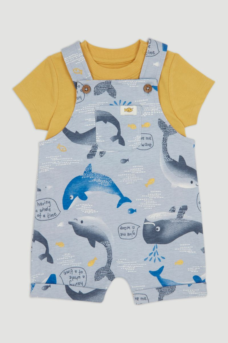 Whale Jersey Dungaree Set