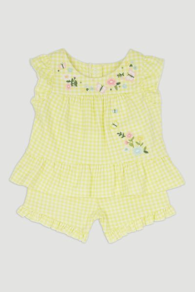 Lemon Gingham Flower Shorts Set