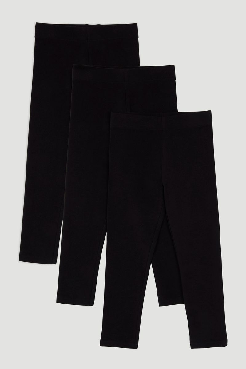 3 Pack Black Leggings 3-14yrs