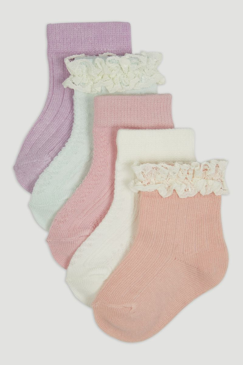 5 Pack Pastel Frilly Socks