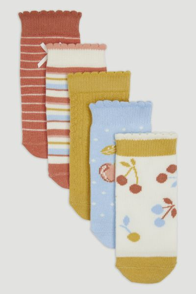 5 Pack Cherry Pattern Socks