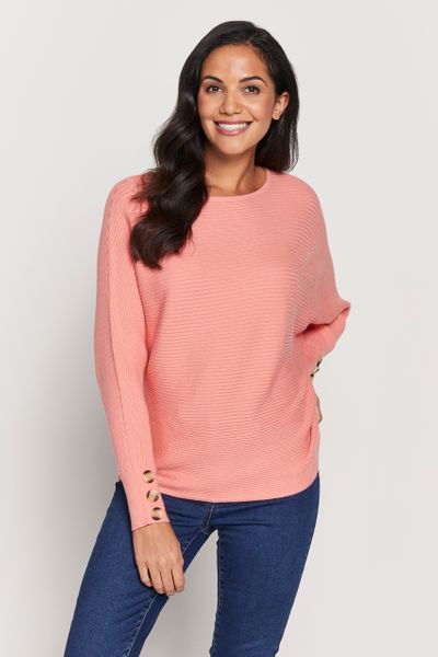 Ribbed Coral Batwing Jumper