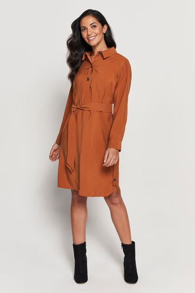 Rust Button Shirt Dress