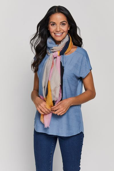 Blue Top with Geo Scarf Included