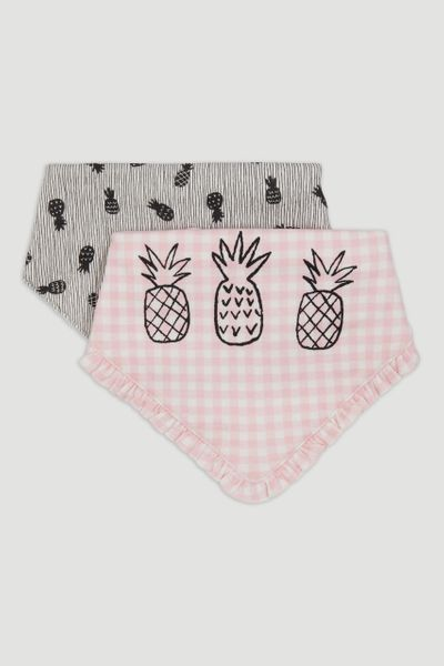 2 Pack Green Gingham Bandana Bibs