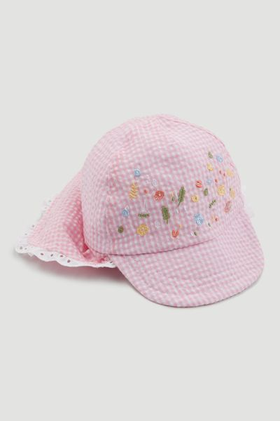 Girls Pink Button Sun Hat Sun Cap Available in 2-4 4-6 7-10 Years