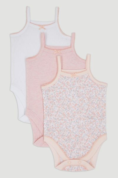 3 Pack Pink Strappy Bodysuits