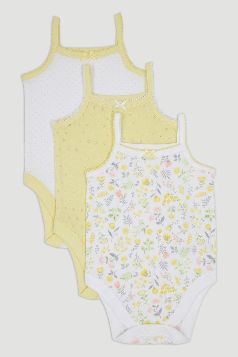 3 Pack Lemon Strappy Bodysuits