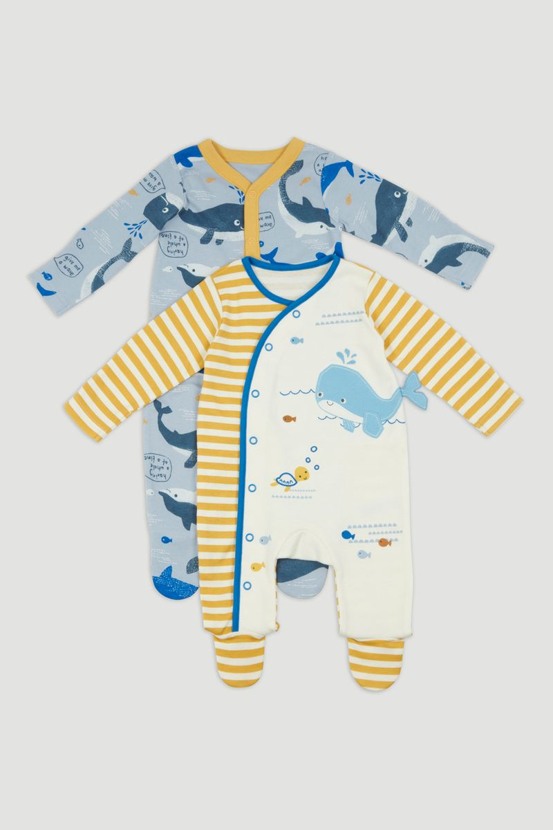 2 Pack Ochre Whale Sleepsuits