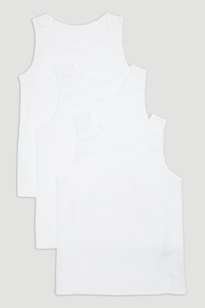 3 Pack Girls White Vests
