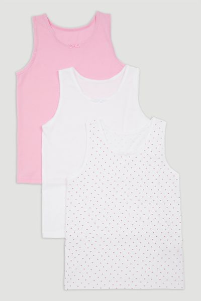 3 Pack Pink & White Vests